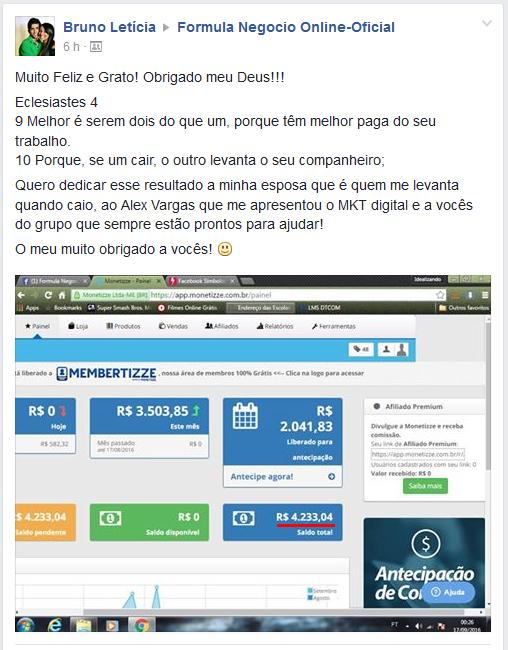 Fórmula Negócio Online Depoimento