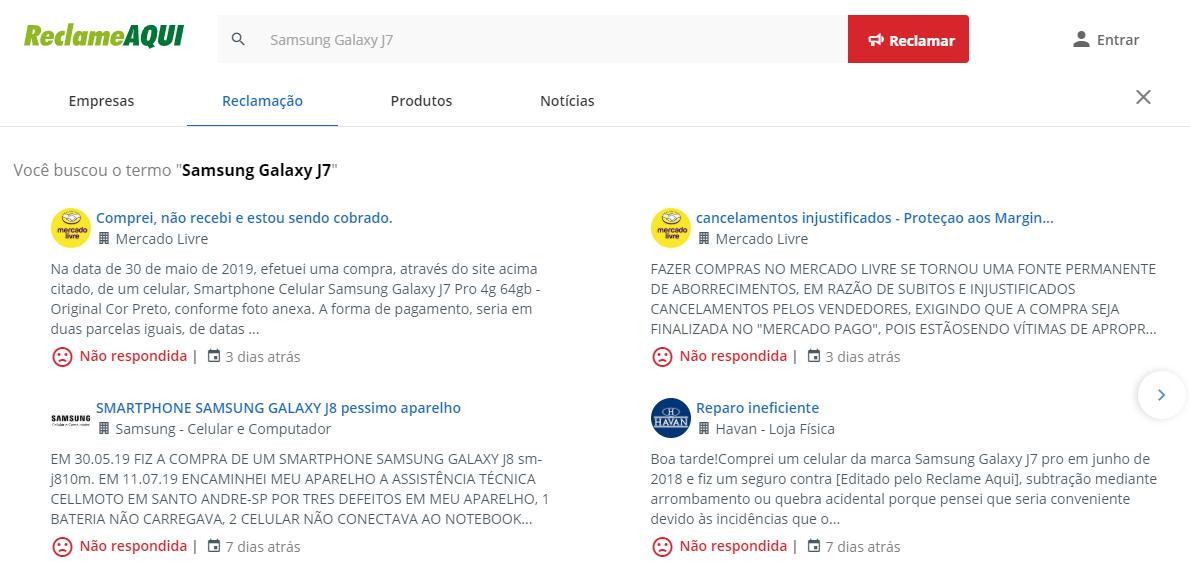 Samsung Galaxy J7 reclame aqui