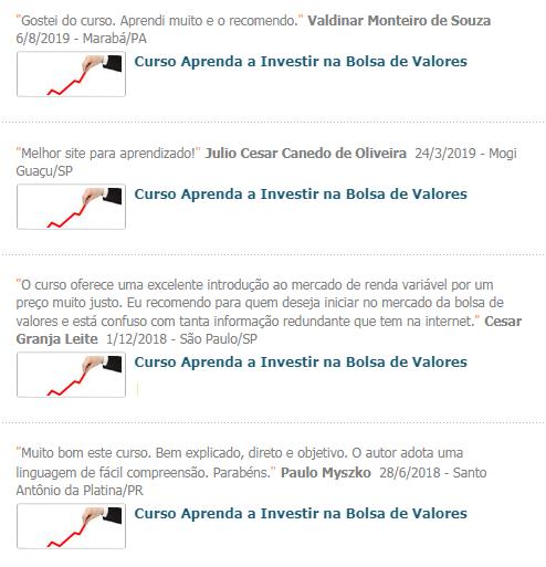 Curso de Bolsa de Valores depoimentos